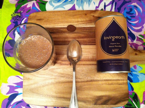 Salted Cocoa Banana Shake with Wattleseed ingredients colourful