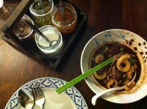 Jinda Thai beef soup birds eye view