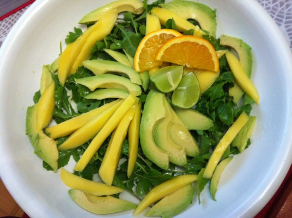 Mango avocado and rucola salad