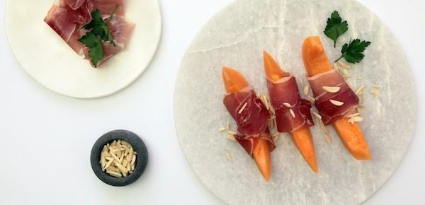 Prosciutto wrapped Cantaloupe