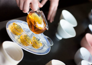 Sarah Cowell pouring tea