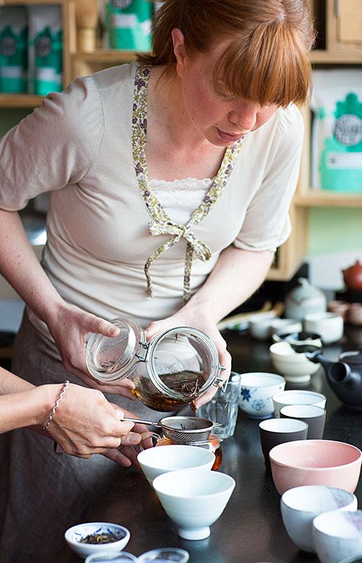 Sarah Cowell straining tea