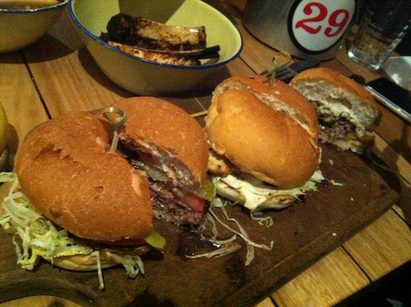 Trio of Burgers at Ribs and Burgers