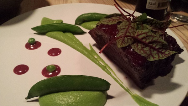 DuNORD Blackberry glazed dry aged mutton with pea puree forest berries and bergamot