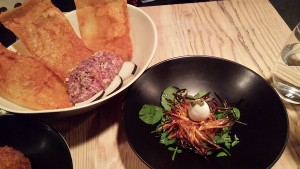 DuNORD Pine smoked quails nest and venison juniper and radish tartare