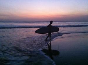 Kuta Beach sunset surfing