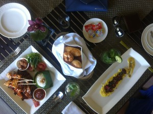 Mulia Bali The Cafe lunch flat lay