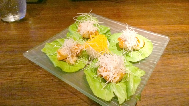 Sake Restaurant Miso marinated Glacier 51 Patagonian Toothfish in lettuce cups Edited