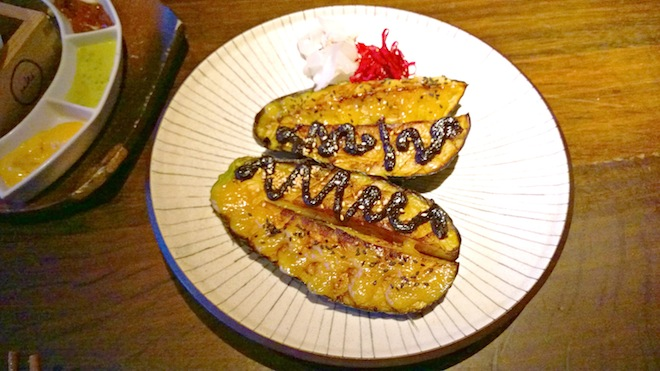 Sake restaurant Nasu Dengaku - grilled eggplant with two types of miso sauce Edited 2