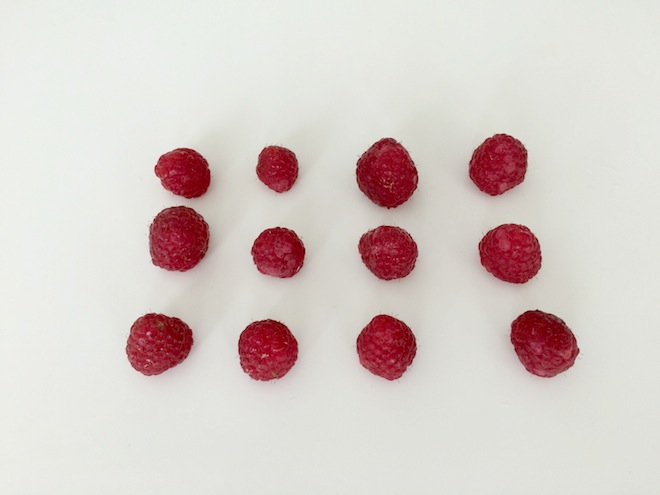 Coconut and Raspberry Raspberries in a line