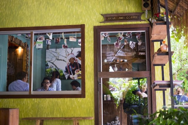 Cool cafes in Chiang Mai Akha Ama Coffee outdoors