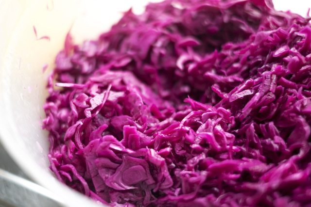 Pickled red cabbage closeup
