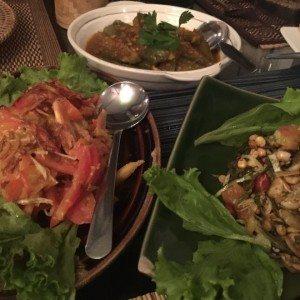 Myanmar Food Mini Guide Tomato salad, tea leaf salad and eggplant curry, House of Memories