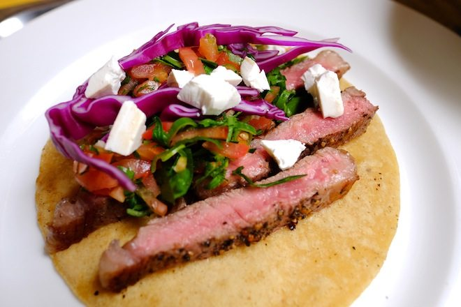 Tucker Street Steak tacos with coriander salsa and feta