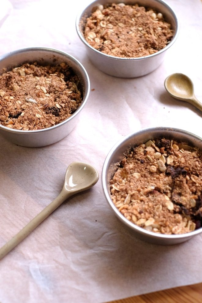 Hazelnut and applce crumble portrait