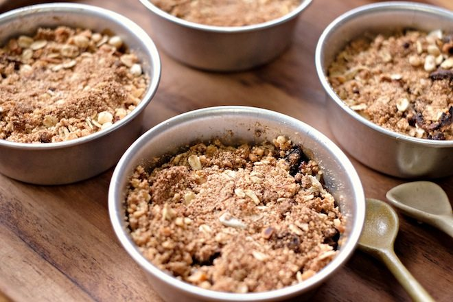 Hazelnut and apple crumble landscape