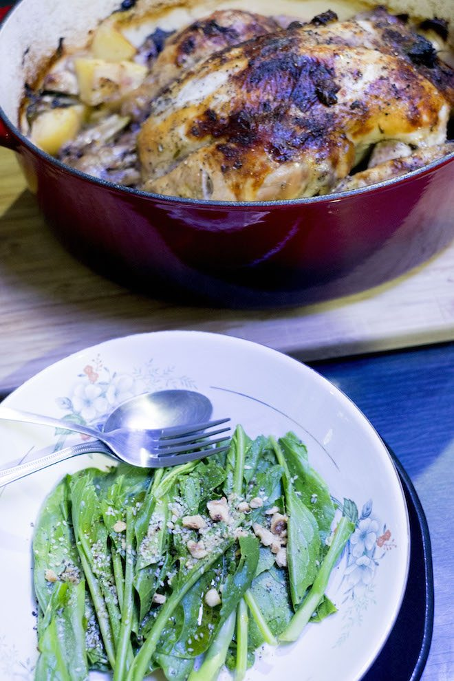 Cider Roast Chicken Recipe with greens