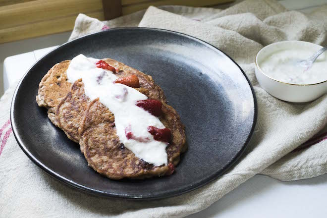 Strawberry Coconut Pancakes landscape