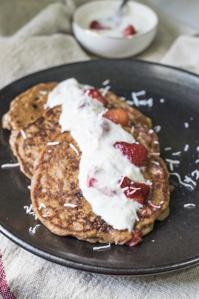 Breakfast in Bed Strawberry Coconut Pancakes