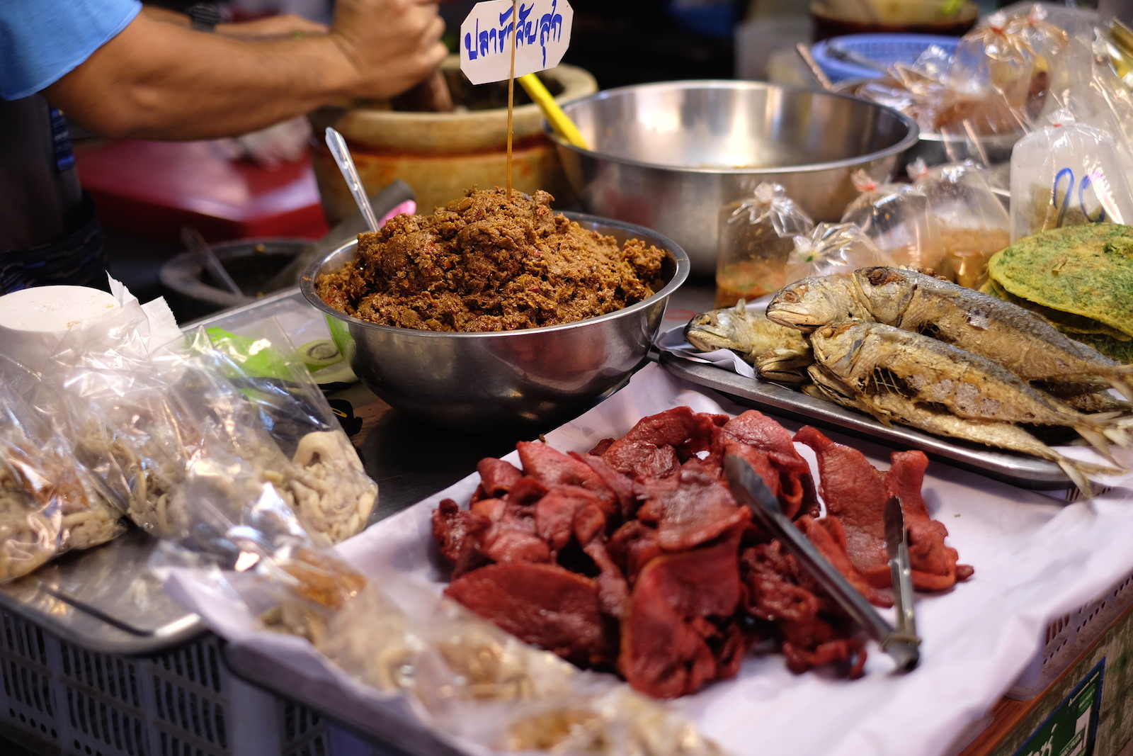 Chiang Mai Thai Farm Cooking School meat at market