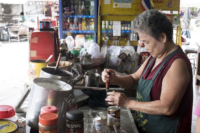 Chinese Grandma Market Street life in Phitsanulok