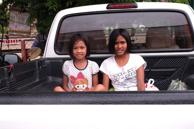 Street Life in Phitsanulok girls pick up car