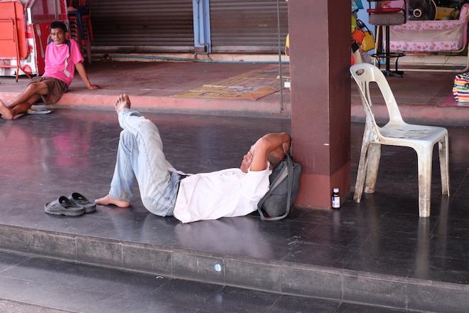 Street Life in Phitsanulok sleepy train