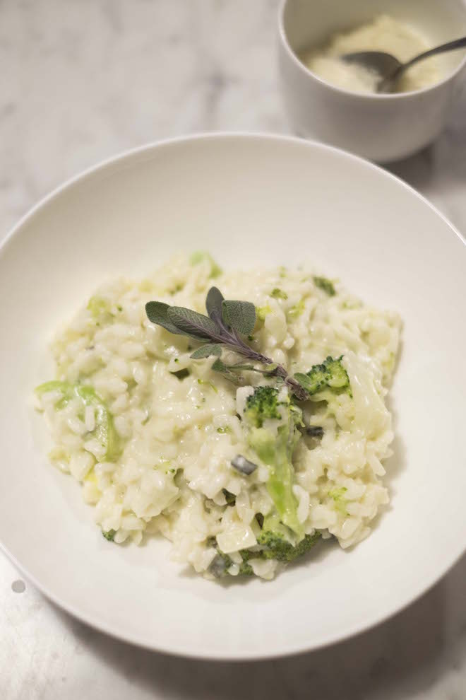 Broccoli Sage and Goats Cheese Risotto birds eye portrait cheese