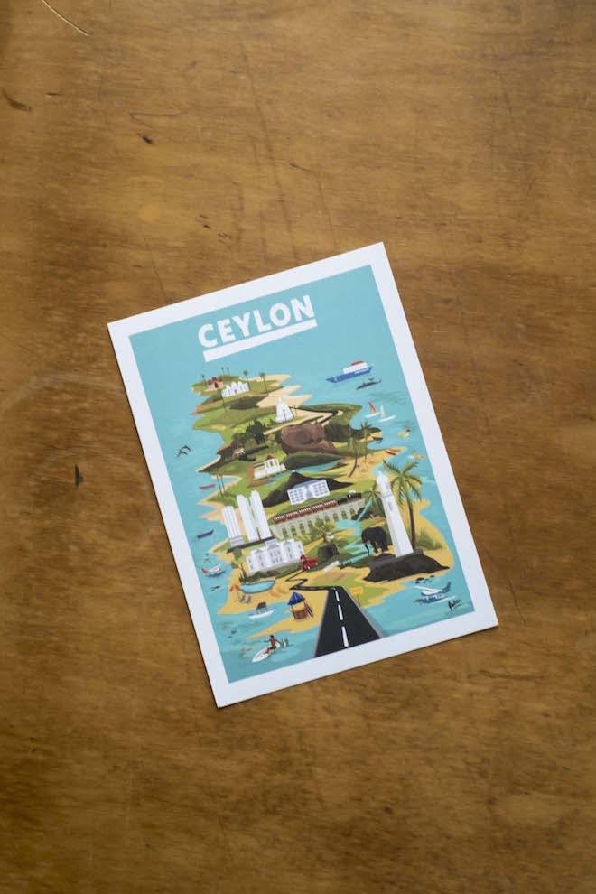 Sri Lanka Ceylon Postcard Map angle