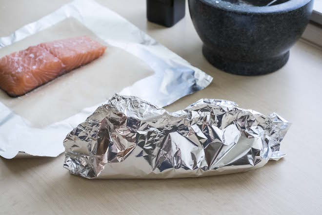 Salmon Boats Recipe tin foil fold 3