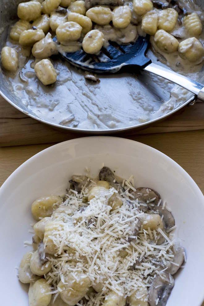 Gnocchi with Creamy Mushroom Sauce Recipe bowl and pan 2