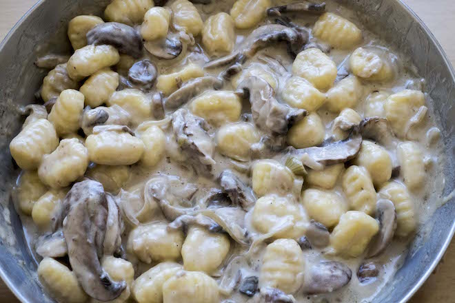 Gnocchi with Creamy Mushroom Sauce Recipe close up