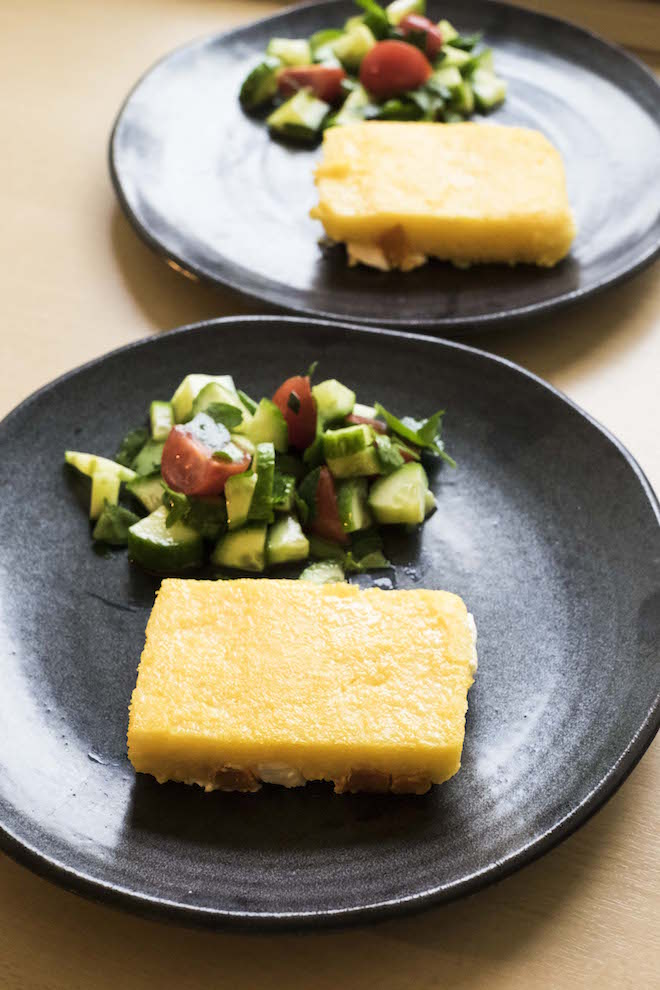 Parmesan Polenta Slice with Sweet Potato and Feta three ws