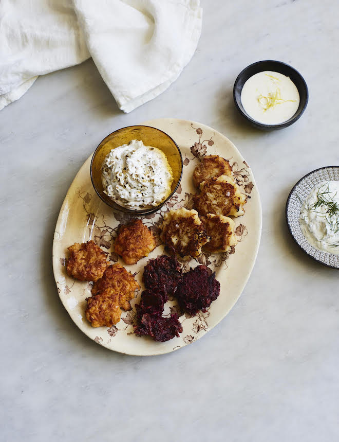 Beetroot patties with horseradish cream recipe by Alissa Timoshkina Foodie Profile Image Lizzie Mayson