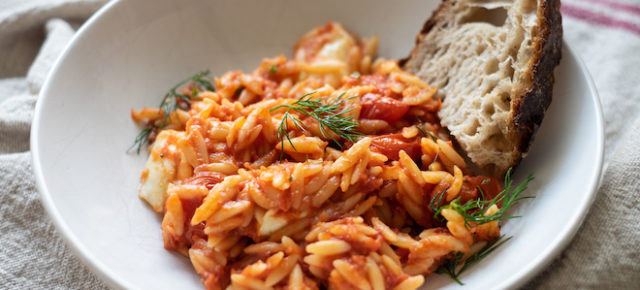NEW: Tomato risoni /orzo with dill and mozzarella