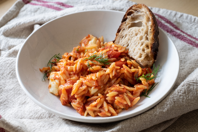 Tomato risoni / orzo with dill and mozzarella distance site