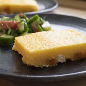 Parmesan Polenta Slice with Sweet Potato & Feta